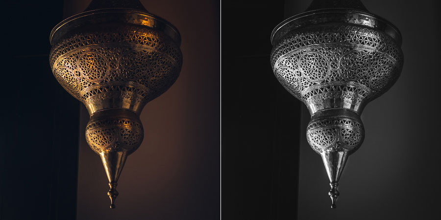 Photo of brass lamp with dark background