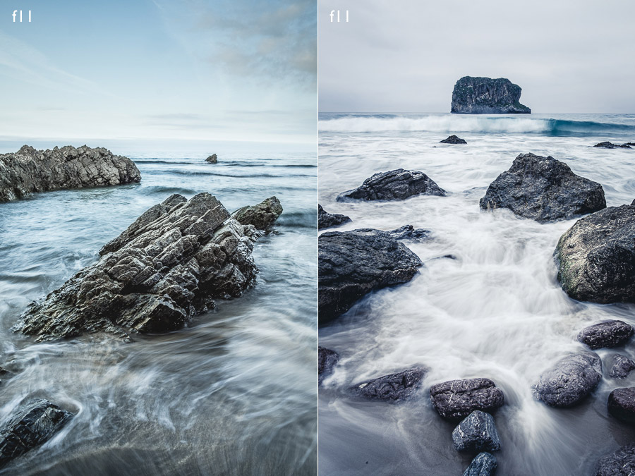 Landscape photos made with slow shutter speeds