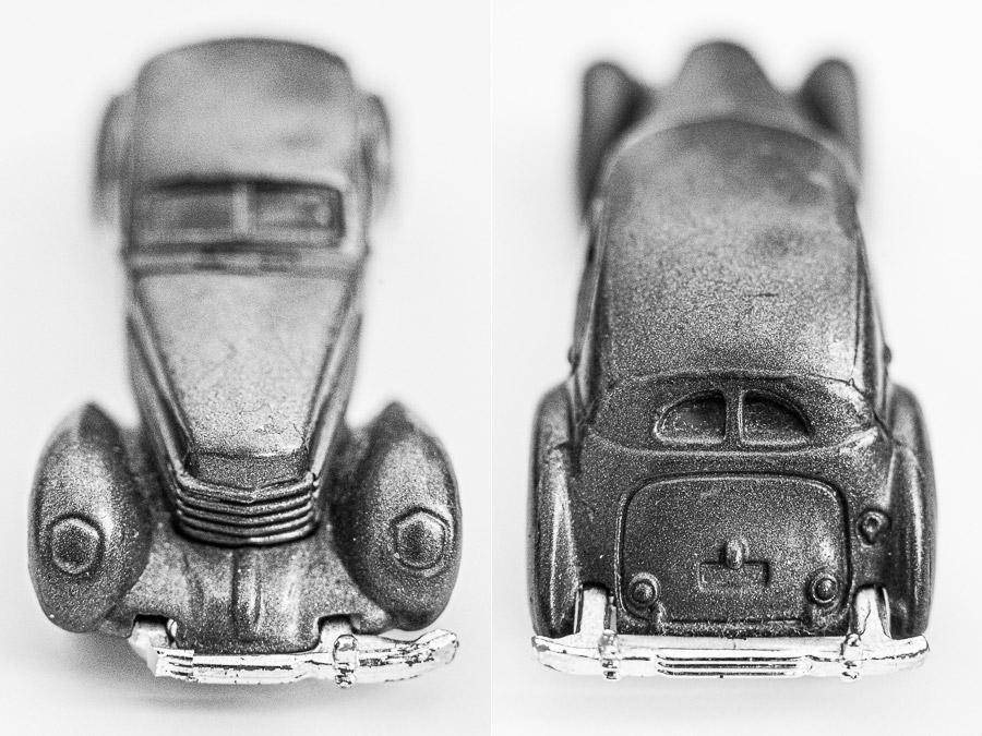 Close-up photos of metal cars