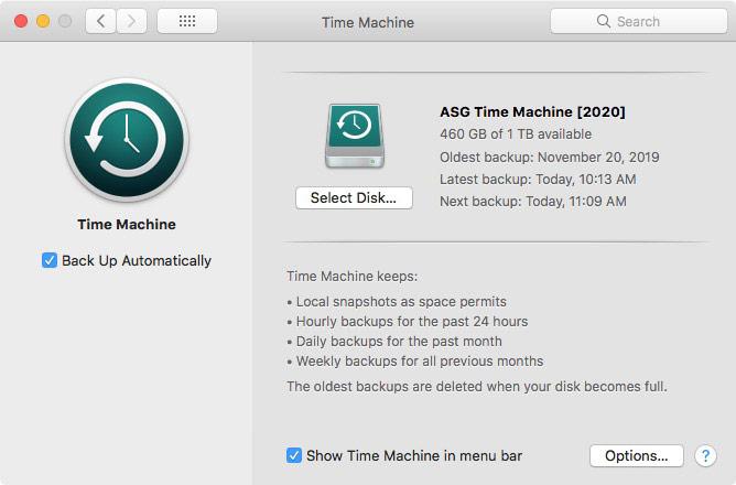 Time Machine photo backup