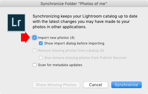 Synchronize Folder window in Lightroom Classic
