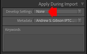 Lightroom Classic import settings
