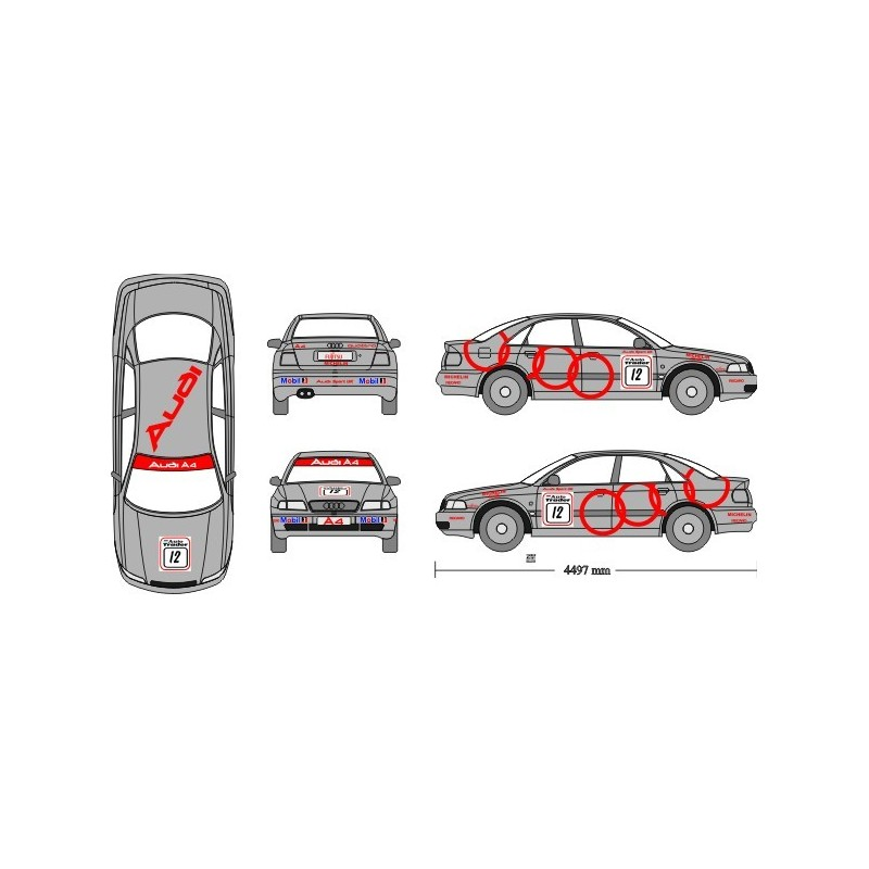 Audi A4 BTCC 1998 Miller Full Graphics Race Rally Kit