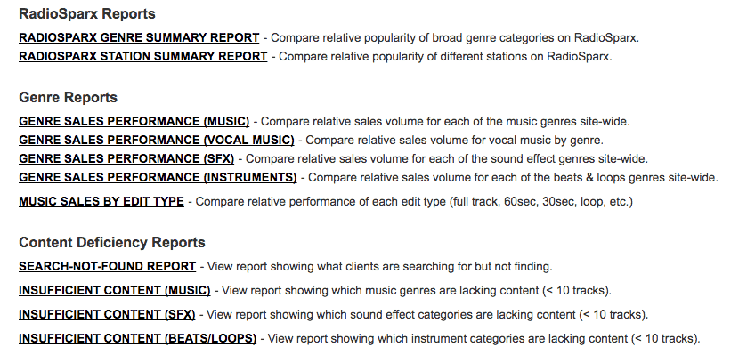 List of Reports available in production music library AudioSparx