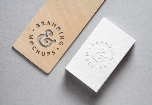 Embossed Business Card and cutout wood Free Business CardPSD MockUp