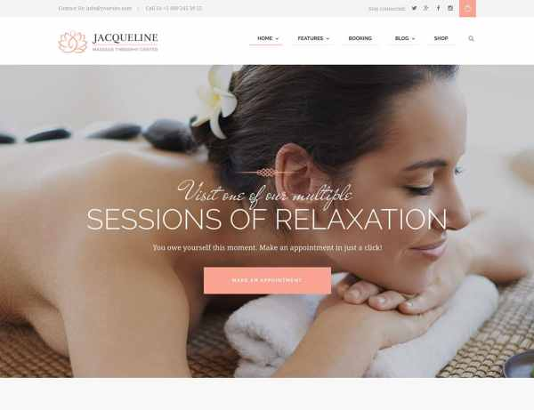 Jacqueline Spa Massage Salon WordPress Theme