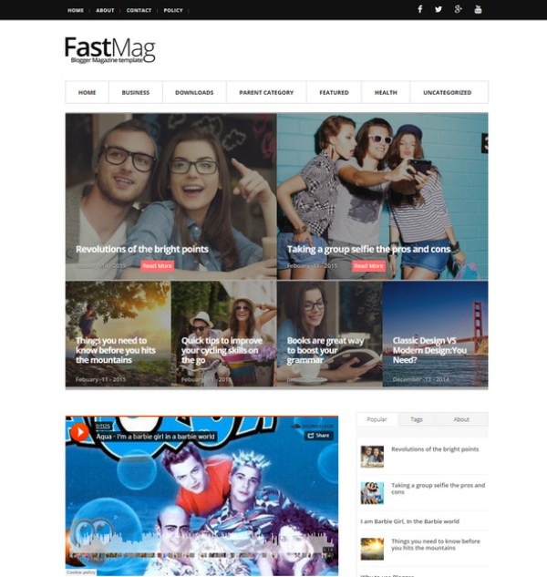 Fastmag simple blog theme with responsive features