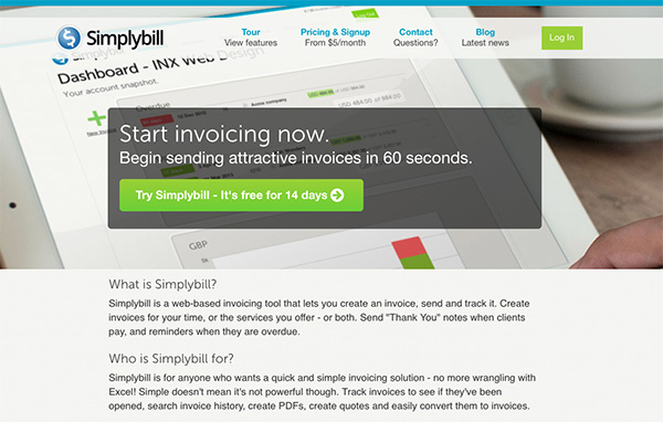 Simplybill online Invoicing