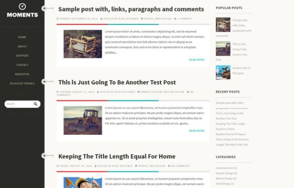 Moments Blogger Theme - loading and designed to appeal to a Tumblr audience