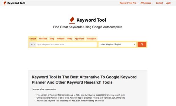 Keywordtool - One keyword research in many platforms