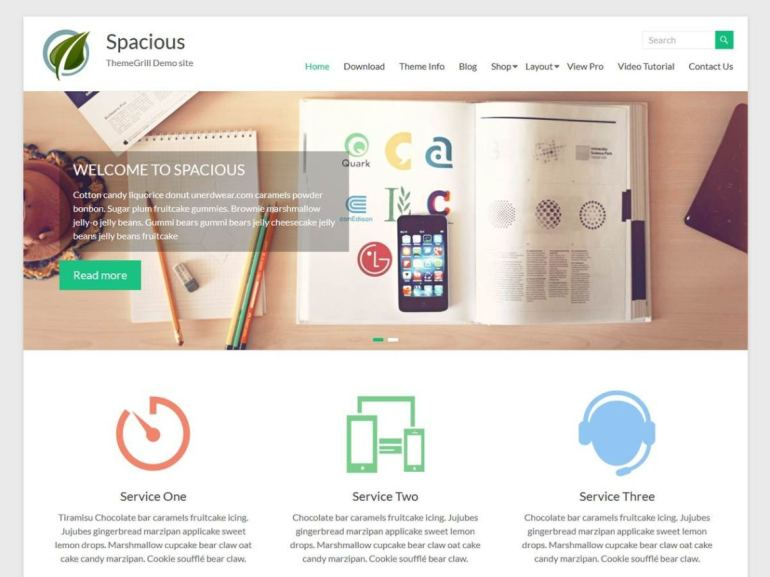 Spacious free word press theme