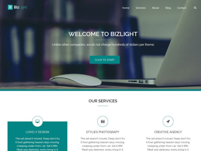 Bizlight free word press theme