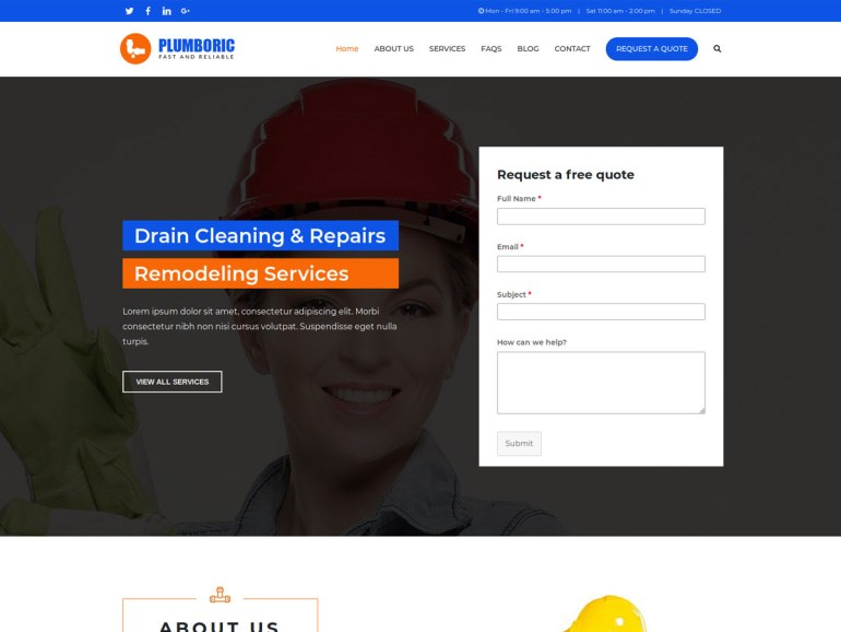 Zakra Plumber  free word press theme