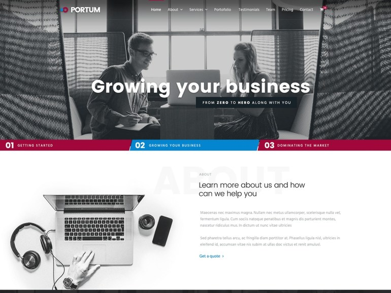 Portum Business free word press theme