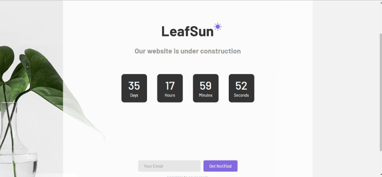 LeafSun coming soon template Download