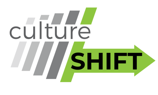 grey oblique lines growing darker, then a green line with an arrow pointing right and overlaid text reading 'culture SHIFT'
