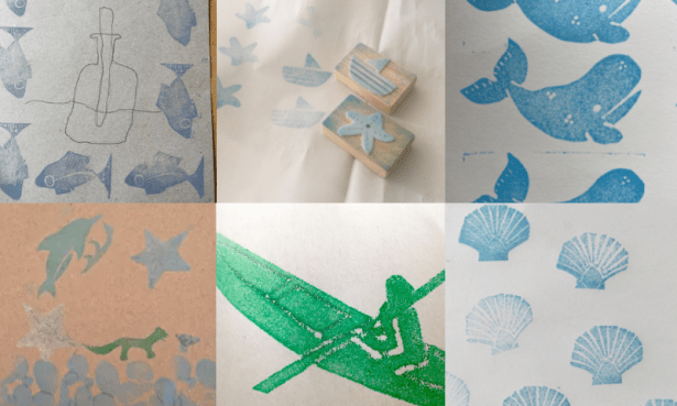 A collage of six art works made with inkpad stamps featuring, fish, shells, whales and a kayaker