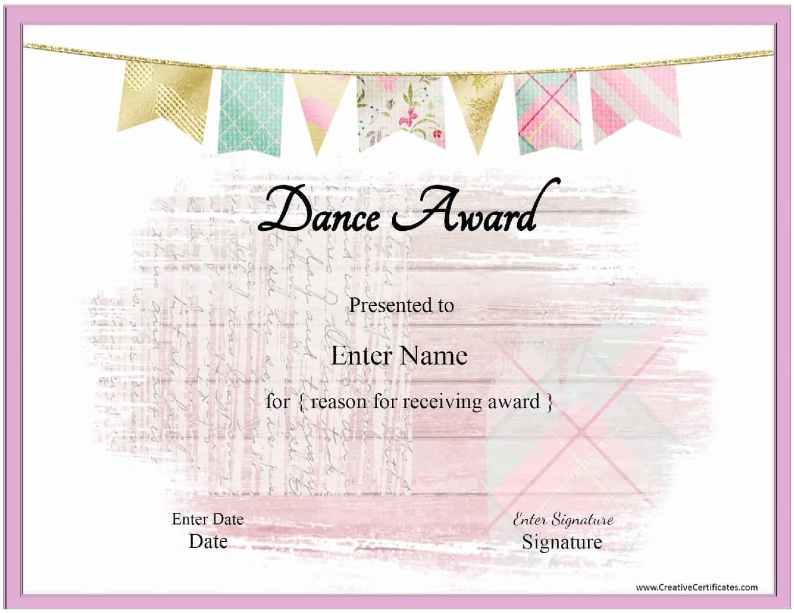 dance certificate templates
