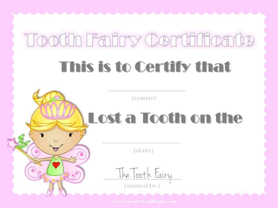 This is a photo of Free Printable Tooth Fairy Certificate in downloadable