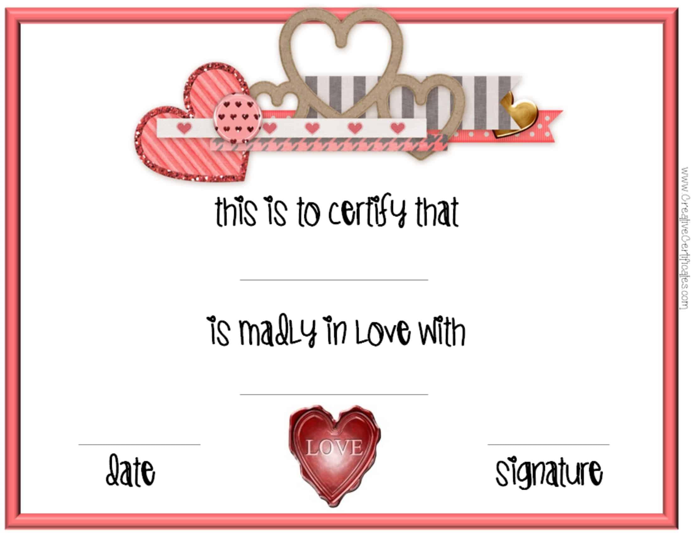 Valentines Day Certificates