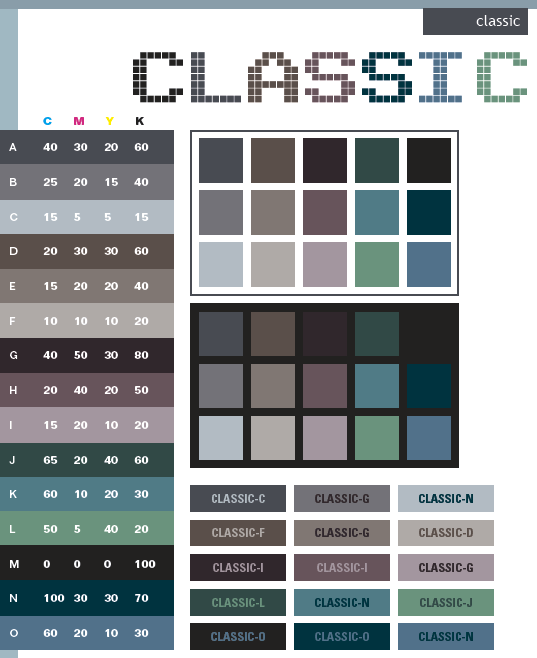 color combinations for diagram cell membrane blank classic schemes, combinations, palettes print (cmyk) and web (rgb + html)