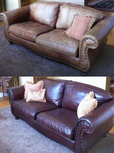 Leather Couch Repair - Before and After