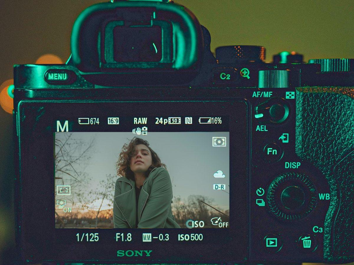 Photo camera with the girl on screen