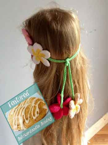 Plumeria Flower Headband Snickerdoodle Linky Party|Creative Crochet Workshop