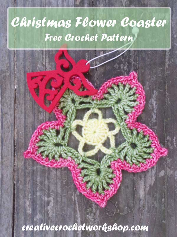 CHRISTMAS FLOWER COASTER | CREATIVE CROCHET WORKSHOP | HOLIDAY BLOG HOP 2016