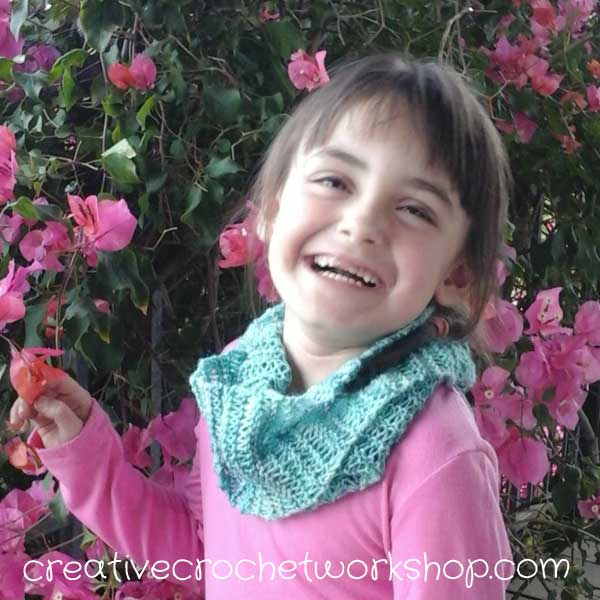 Daughter wearing Dropped Spirit Knit Scarf | Free Knitting Pattern | Creative Crochet Workshop
