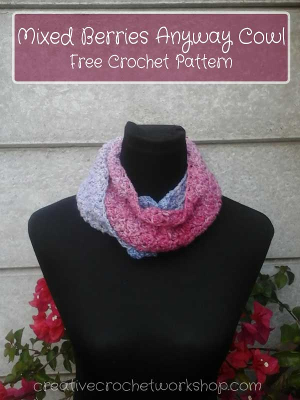 Mixed Berries Anyway Cowl | April 2017 Scarf Club | Creative Crochet Workshop