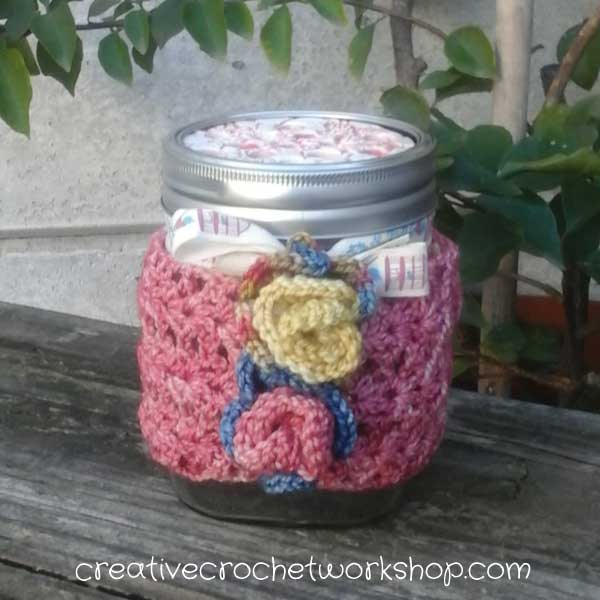 Autumn Rose Jar Cozy - Close Up | Creative Crochet Workshop | #AutumnSpringBlogHop2017