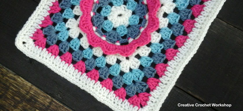 FRILLY CIRCLE GRANNY SQUARE