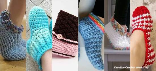 Slipper Siesta - Free Crochet Pattern Round Up Feature Image   Compiled by Creative Crochet Workshop