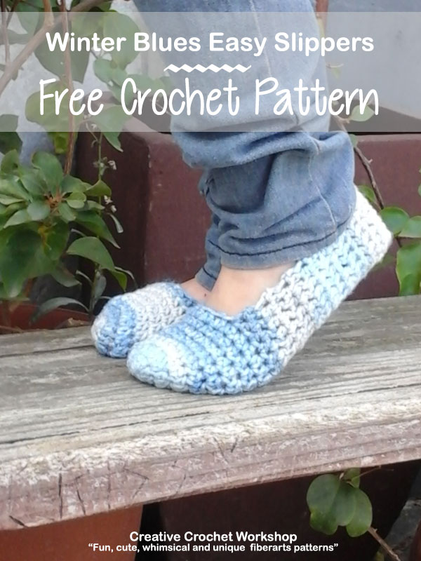 Winter Blues Easy Slippers - Free Crochet Pattern | Creative Crochet Workshop @creativecrochetworkshop #BeatTheHeatCold2017