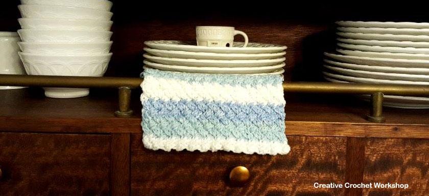 Woven Sky Dishcloth Feature Image | Contributor Post Graceful Fibers | Creative Crochet Workshop @creativecrochetworkshop