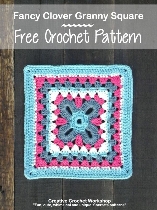 Fancy Clover Granny Square | Creative Crochet Workshop @creativecrochetworkshop #freecrochetpattern #grannysquare