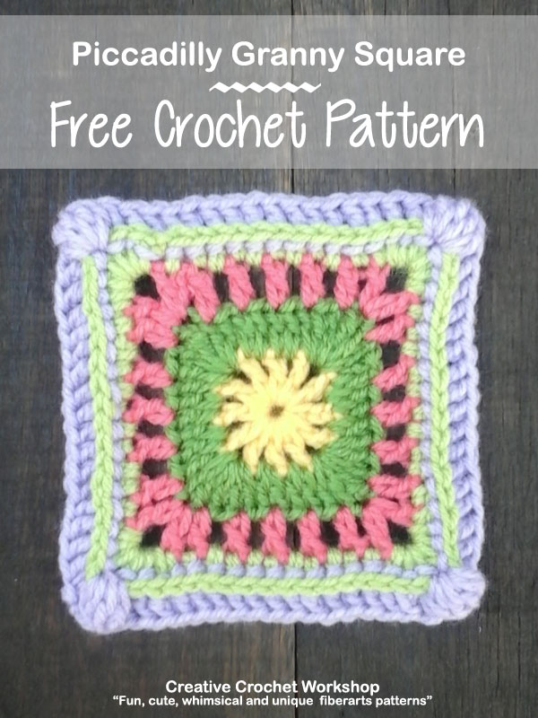 Piccadilly Granny Square - Free Crochet Pattern | Creative Crochet Workshop @creativecrochetworkshop #grannysquare #freecrochetpattern #groovygrannysquarecal