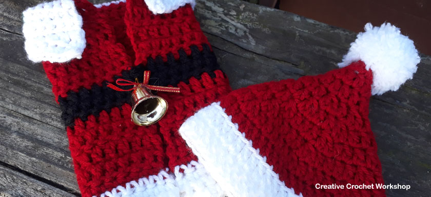 Santa Bottle Jacket & Matching Hat | 2017 Holiday Blog Hop | Creative Crochet Workshop @creativecrochetworkshop #freecrochetworkshop #2017holidaybloghop