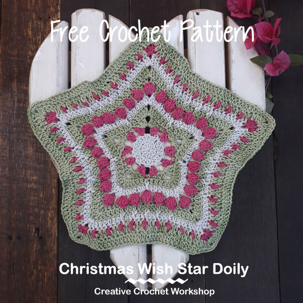 Christmas Wish Star Doily | 2017 Holiday Stashdown Cal | Creative Crochet Workshop @creativecrochetworkshop #freecrochetworkshop #CALCentralCrochet