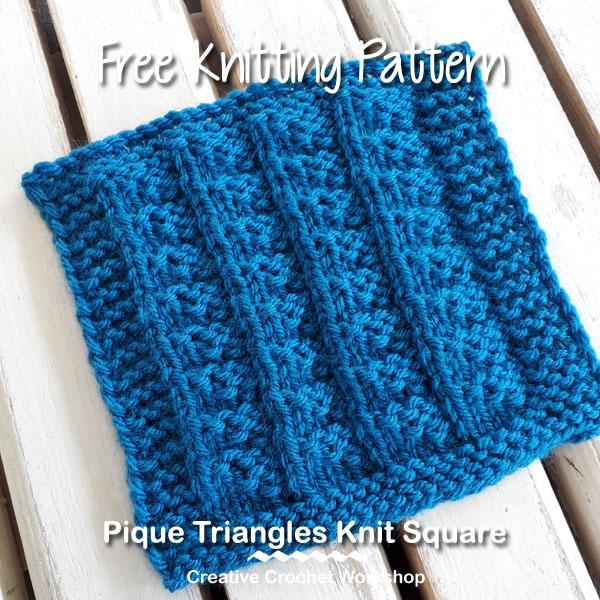 Pique Triangles Knit Square - Free Knitting Pattern | Creative Crochet Workshop #KALCorner