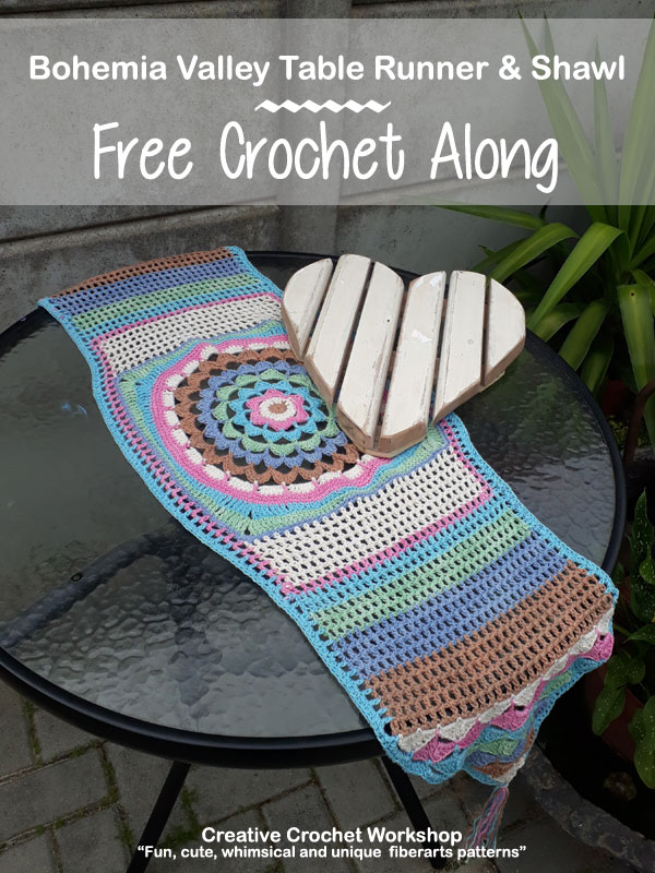 Bohemia Valley Table Runner & Shawl | Free Crochet Along | Creative Crochet Workshop