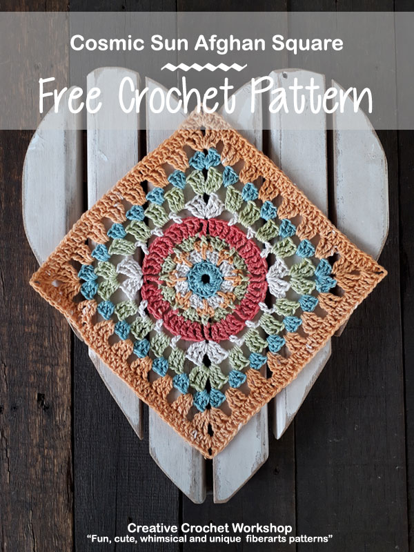 Cosmic Sun Afghan Square | Creative Crochet Workshop @creativecrochetworkshop #freecrochetpattern #grannysquare #afghansquare #crochetalong #ccwcrochetablock2018