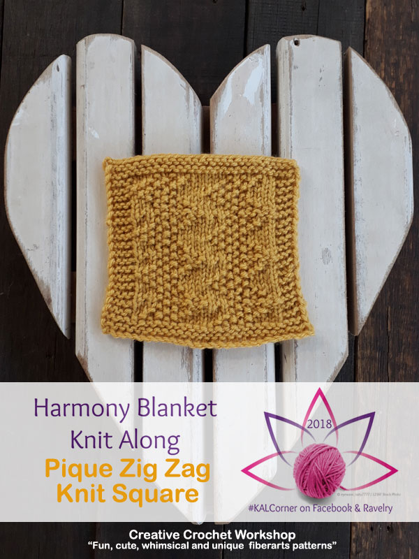 Pique Zigzag Knit Square - Free Knitting Pattern | Creative Crochet Workshop #KALCorner