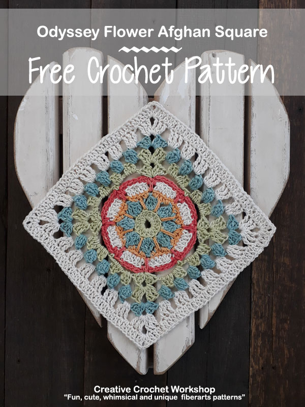 Odyssey Flower Afghan Square | Creative Crochet Workshop @creativecrochetworkshop #freecrochetpattern #grannysquare #afghansquare #crochetalong #ccwcrochetablock2018