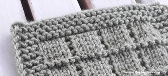 Tile Stitch Knit Square - Free Knitting Pattern | Creative Crochet Workshop #KALCorner