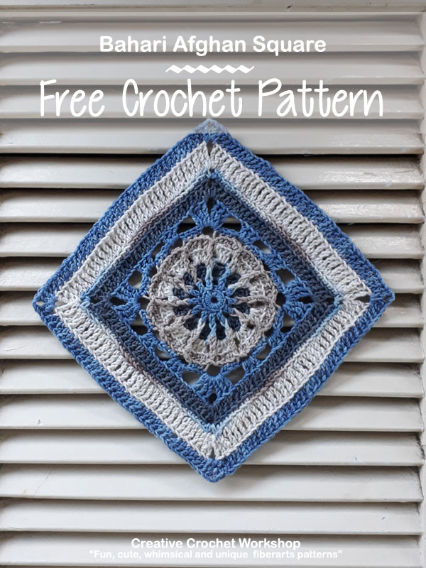 Bahari Afghan Square | Creative Crochet Workshop @creativecrochetworkshop #freecrochetpattern #grannysquare #afghansquare #crochetalong #ccwcrochetablock2018