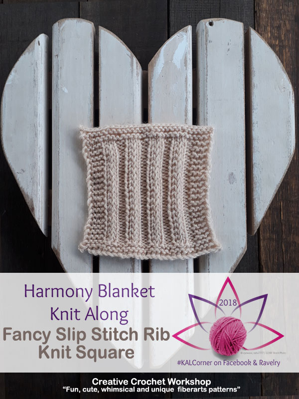 Fancy Slip Stitch Rib Knit Square - Free Knitting Pattern | Creative Crochet Workshop #KALCorner