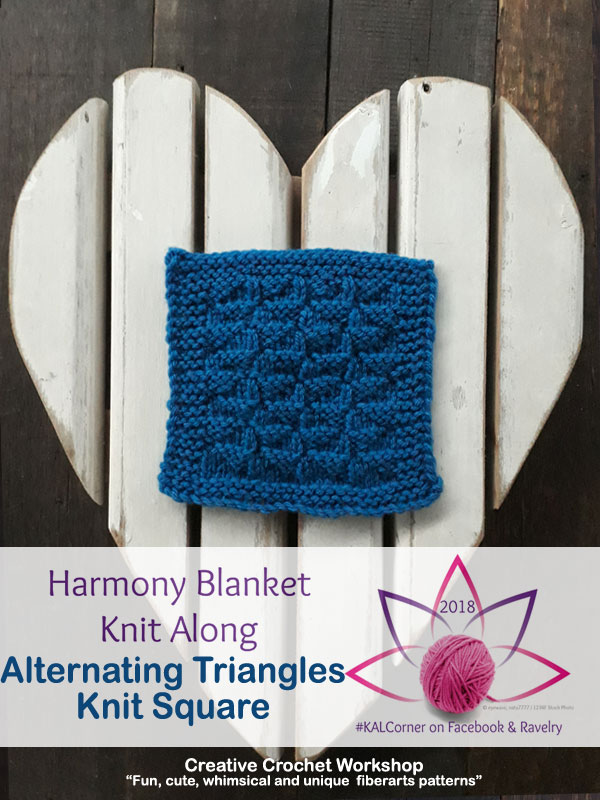 Alternating Triangles Knit Square - Free Knitting Pattern | Creative Crochet Workshop #KALCorner