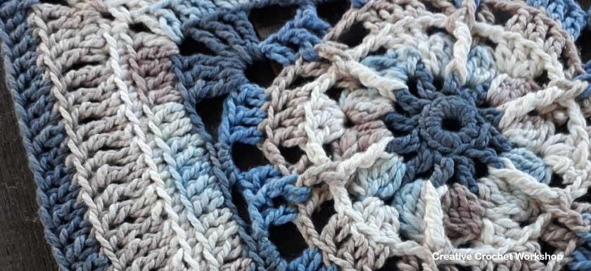 Samudra Afghan Square | Creative Crochet Workshop @creativecrochetworkshop #freecrochetpattern #grannysquare #afghansquare #crochetalong #ccwcrochetablock2018